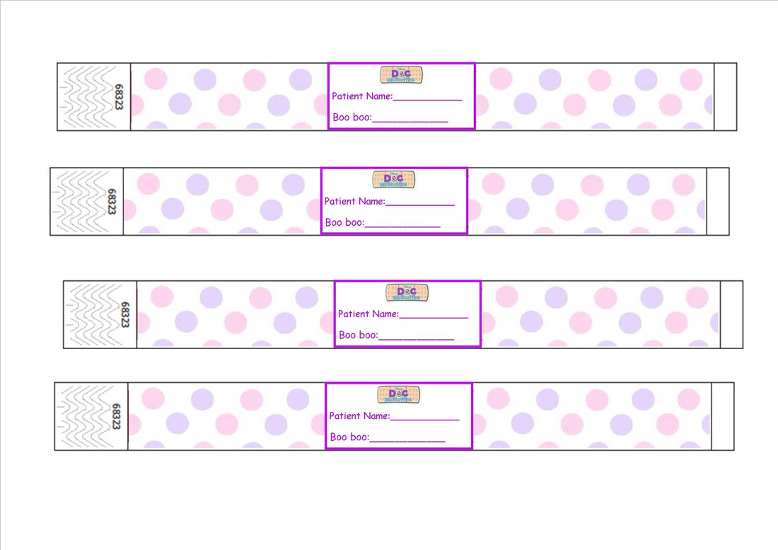 picture about Hospital Bracelet Printable identified as Document McStuffins Clinic Wristband Printable - Piece of Cake